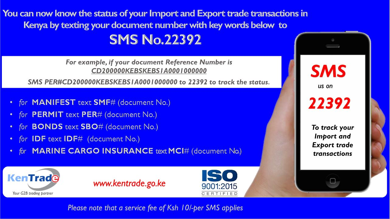 You can now track the processing of your cargo clearance every step of the way using your phone via SMS No.22392