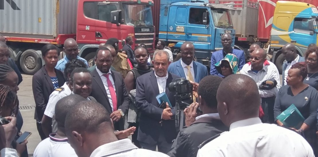 OLD PHOTO OF KenTrade Chairman Suleiman Shahbal with Board and senior managers of KenTrade and KRA Customs during visit at the Kenya Tanzania border cargo clearance point